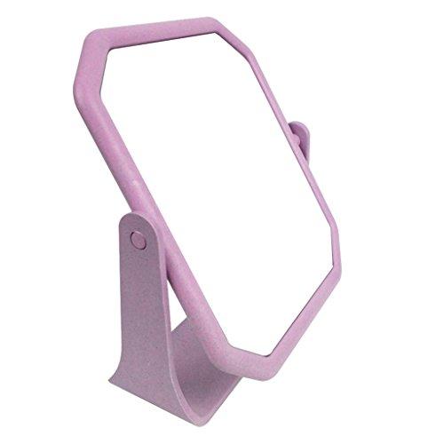 WURE HD doppelseitige Spiegel Desktop Kosmetikspiegel Drehen Sie den tragbaren Spiegel (Farbe : Purple)