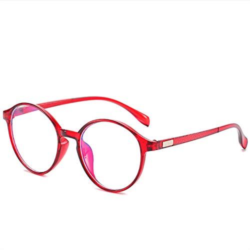 YHKF Gafas Marco De Gafas De Lente Transparente para Mujer Gafas De Hombre Gafas Redondas Gafas De Montura Transparentes-Rojo