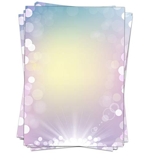 50 Blatt Briefpapier Motiv Zauberhafter Verlauf/beidseitig bedruckt/DIN A4 90 g Papier/Bunt/Regenbogen/Glitzer/Edel