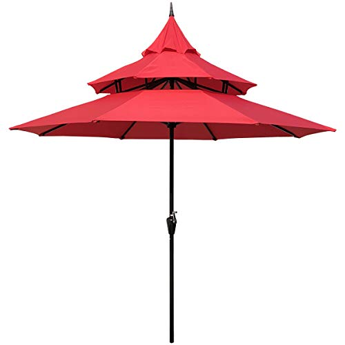 ABBLE Outdoor Patio Umbrella 9 Ft Pagoda with Crank, Weather Resistant, UV Protective Umbrella, Durable, 8 Sturdy Steel Ribs, Market Outdoor Table Umbrella, Red