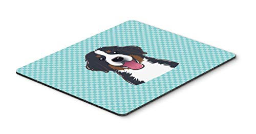 Caroline's Treasures BB1175MP Checkerboard Blue Bernese Mountain Dog Mouse Pad, Hot Pad or Trivet, Large, Multicolor