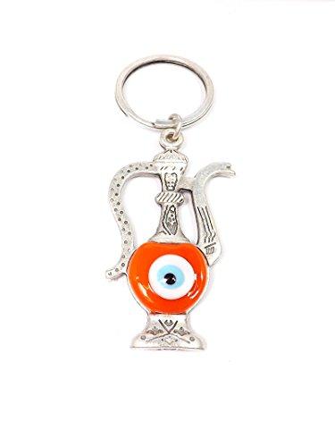 Remi Bijou Schlüsselanhänger - Teekanne Gießkanne Wasserkrug Ibrik Ibriq - Nazar Boncuk Türkisches Auge - Glücksbringer (orange)