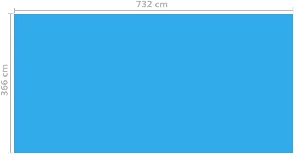 vidaXL Cubierta Rectangular de PE de Piscina, Azul, 732 x 366 cm