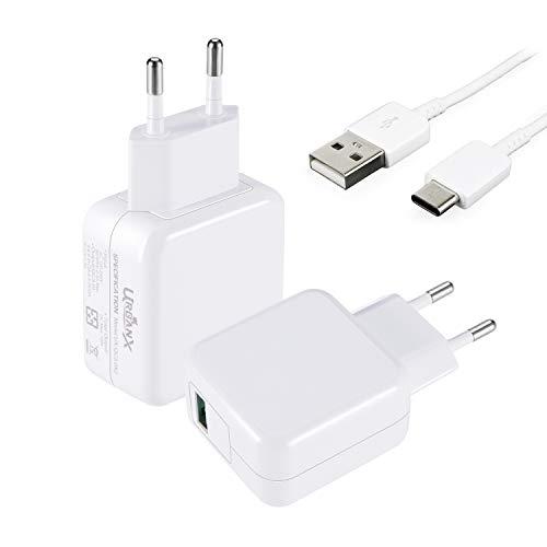 UrbanX 18W Cargador USB Quick Charge 3.0 - Cargador de Viaje Enchufe Carga Rápida para Xiaomi Pocophone F1 Mi A2 Mi 5/8/9 Pro Mix 3 A1 Samsung S10 S9 S8 Plus (con Cable de 2 Metro Tipo C, Blanco)