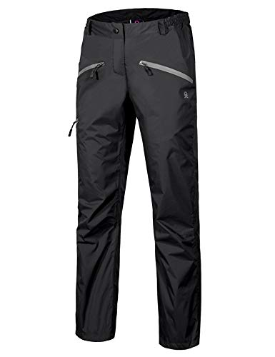 Little Donkey Andy Women's Lightweight Waterproof Breathable Rain Pant Black Size S