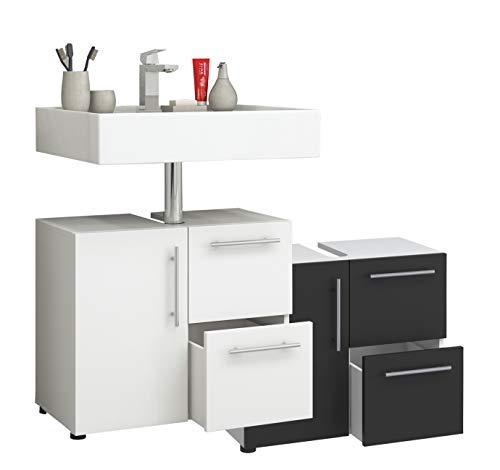 VCM Bad Unterschrank Waschtisch Waschbeckenunterschrank Badunterschrank Schrank Möbel Flandu 51 x 60 x 30 cm Badezimmer Regal Weiß