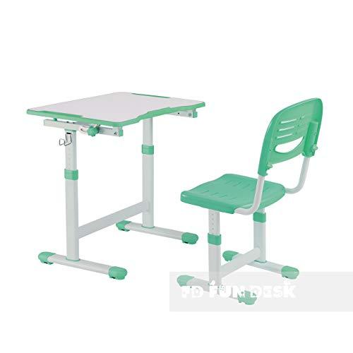 FD FUN DESK Piccolino II Green Kinderschreibtisch höhenverstellbar, Schülerschreibtisch neigungsverstellbar, Schreibtisch mit Stuhl, Grün, 664x474x540-760 mm