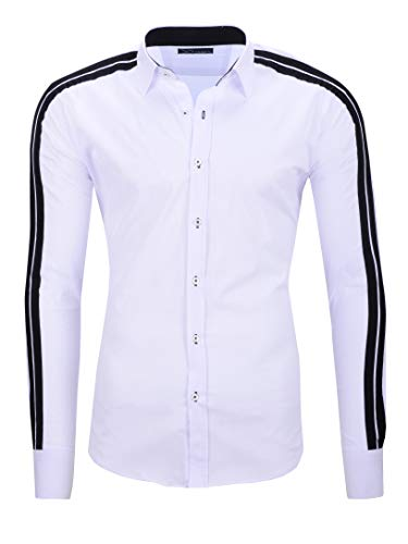 Kayhan Camisas Hombres Camisa Hombre Manga Larga Ropa Camisas de Vestir Slim fácil de Hierro Fit S M L XL XXL-6XL - Modello Python
