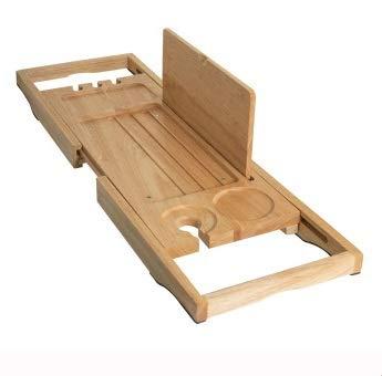 Djy-jy Bañera Baño Bandeja Bandeja paquete con jabón Holder - Caddie baño de bambú - Bandeja ajustable Bañera - Adecuado como un baño Estante, baño estante o mesa Baño (Color: Madera, tamaño: 62.5cm x
