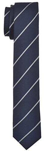 Blacksmith Navy and White Striped Formal Tie For Men