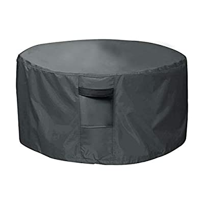 Orqihod Outdoor Fire Pit Cover Waterproof 600D Heavy Duty Garden Fire Bowl Cover with 2 Buckles, Air Vents, Round Patio Brazier Covers Windproof, Grey(112 x 60cm) from Orqihod