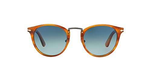 Persol Typewriter Edition Occhiali da Sole, Marrone (Striped Brown/Lightblueegraddluepolar), 49 Uomo