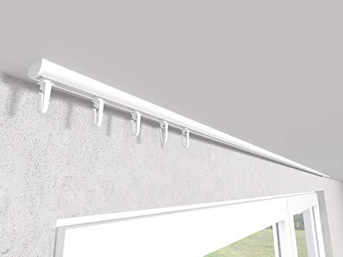 Market-Alley Vorhangschiene Aluminium Weiß/Schwarz Gardinenschiene ; B 1-läufig ; 120cm-600cm. Für Kräuselband Gardinen oder Schiebevorhang (Weiß Gardinenschiene mit Faltenlegehaken ; 120cm)
