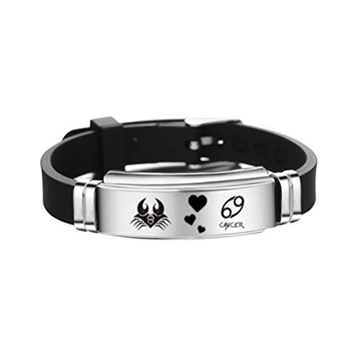 FENICAL constelaciones de cáncer pulsera del signo del zodiaco pulsera de brazalete de silicona de acero inoxidable ajustable regalo de joyería de cumpleaños
