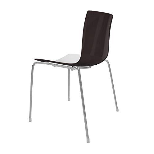 arper Catifa 46 0251 Stuhl zweifarbig Gestell Chrom, weiß braun Außenschale glänzend innen matt BxTxH 53,5x50,5x80cm Gestell Stahl vechromt