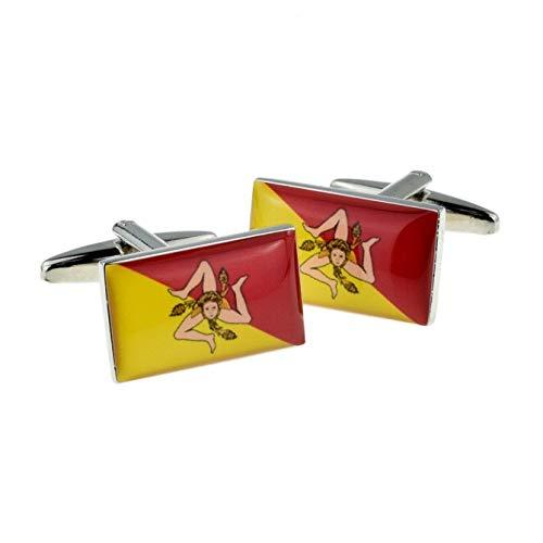 Sicilië vlag manchetknopen met geschenkdoos & verzonden uit het Verenigd Koninkrijk