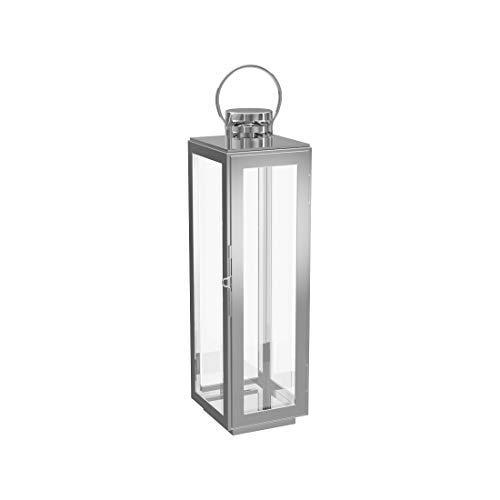 DGSD Edelstahl Kerzenlicht Glasdekoration Licht Garten Licht kleine Kerzenhalter Hochzeit Innen- und Außenbereich,Silver-21X10.5X10cm
