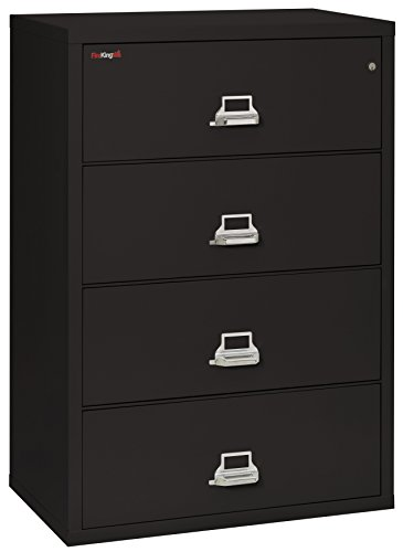 Fireking Fireproof Lateral File Cabinet (4 Drawers, Impact Resistant, Water Resistant), 38' W x 22' D, Black, Made in USA