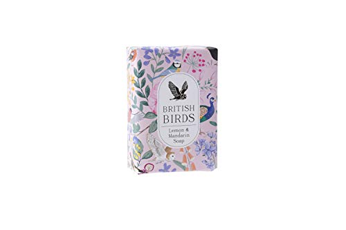 Vogel Bloemen Ontwerp Hand Verpakt Milieuvriendelijk 100% Plantaardige Pink100g Citroen & Mandarijn Zeep Gemaakt in het Verenigd Koninkrijk | Uit CGB Giftware's British Birds Collection | GB04779