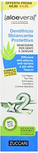 ZUCCARI Aloevera 2 Dentifricio Sbiancante Protettivo, Non Aromatizzato, 100 Millilitri