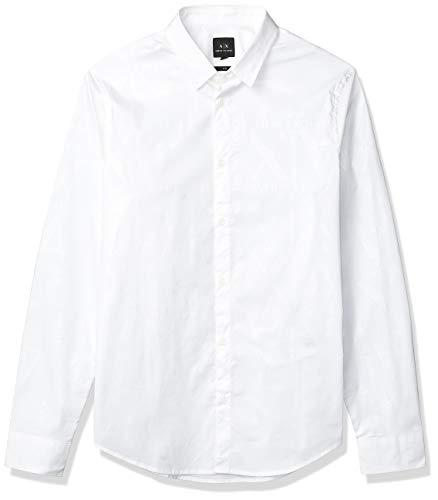 Armani Exchange AX Herren Slim Fit Bold Print Stretch Cotton Long Sleeve Woven Hemd, Weißes Kariertes Logo, Mittel