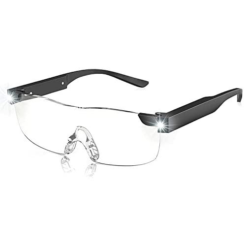 SKYWAY Lupenbrille mit Licht, 200{b75cfb5f4927b7749f59f3412036f4e0732edebbc509bc448f09dc6d7c6216e7} LED beleuchtete wiederaufladbare Lupenbrillen zum Lesen von Hobbys und zum Arbeiten, Big Vision Brillen