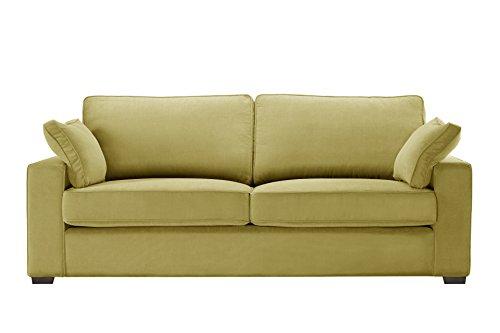 Jalouse - Sofá de 3 plazas fijo Serena amarillo – Tacto de algodón