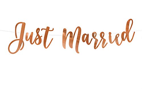 Schnooridoo Banderines para cumpleaños, bodas, fiestas de cumpleaños infantiles, 24 variedades (pancarta Just Married, oro rosa, 20 x 77 cm)