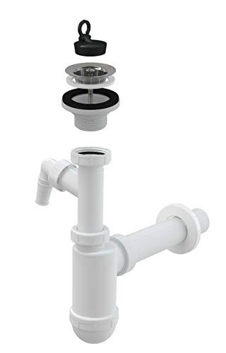 AlcaPlast Flaschen Siphon DN40 mit Geräteanschluss & Ablauf Ventil | Garnitur für Waschbecken