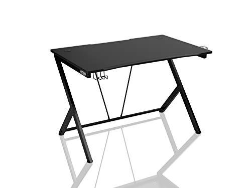 NITRO CONCEPTS D12 - Groß Gaming Tisch Zwei Kabelmuffen Halterungen für Kopfhörer und Getränke Gaming Schreibtisch für Gamers (Schwarz)