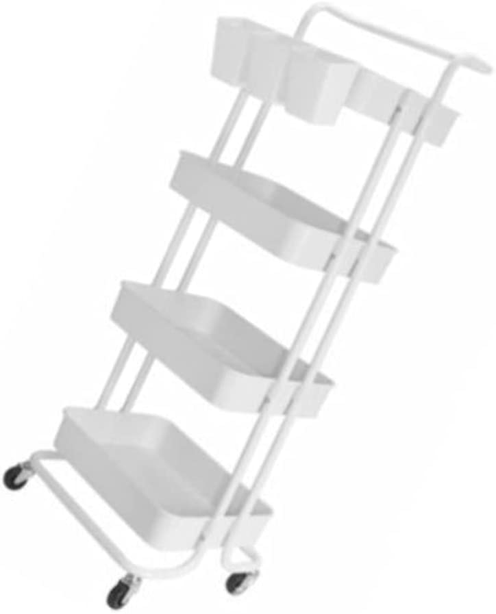 White Storage Cart 4 Tier 2021 Rolling 3 School shipfree with Hanging Cups for