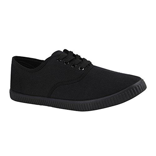 stiefelparadies Sportliche Damen Herren Sneakers Unisex Basic Freizeit Schnürer Stoff Prints viele Farben Schuhe 130816 Schwarz Black 43 Flandell