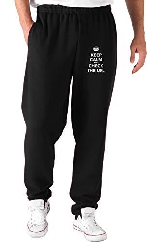 T-Shirtshock Pantaloni Tuta Nero TKC1926 Keep Calm And Check The URL