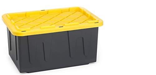 Homz Durabilt 27 Gal. Plastic Storage Tote, Black/Yellow (Set of 4)