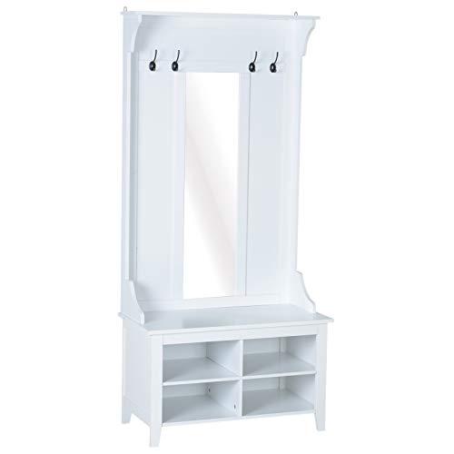 HOMCOM Conjunto de Muebles de Entrada Recibidor Pasillo Set de 3 Piezas Perchero Espejo Banco Zapatero con Estantes 80x40x170cm Madera