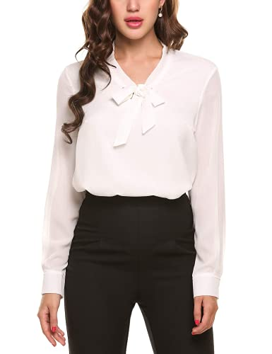 ANGVNS Womens Casual Chiffon Ladies V-Neck Cuffed Sleeve Blouse Tops (Small, White)