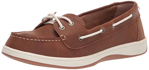 Amazon Essentials Women's Casual 2 Eye Boat Shoe on Comfort Outsole, Brown, 8 B US