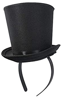 Black Mini Top Hat Headband Roaring 1920s Gatsby Party Costume Accessory One Size