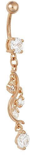 14g Surgical Steel Rose Gold IP Sexy Vine CZ Crystal Dangle Belly Button Ring