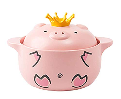 Yxxc Pink Pig Lid Casserole - (Taste of Love) Household Gas Ceramic Stew Pot - Slow Cooker Ceramic Cooker Kitchen Supplies, Pink-1600ml Soup Pot