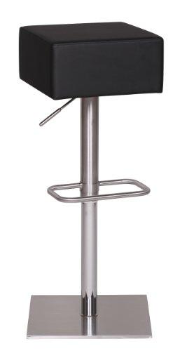 Wohnling Edelstahl Barhocker Durable M4, Edler Gastro Barstuhl Sitzfläche gepolstert 360° Drehbar, Exklusiver Design Tresenstuhl mit Fußstütze Standfest, Sitzhöhe 66-89 cm Höhenverstellbar, schwarz