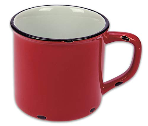 Tony Brown Kaffeebecher Emaille-Optik Tassen Becher Kaffeetasse Teetasse Keramiktasse 500ml (Rot, 1er)