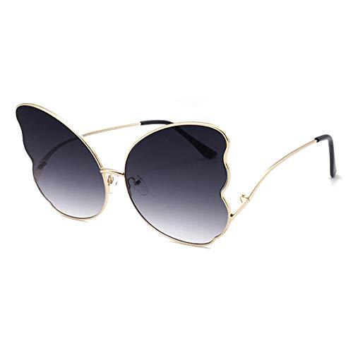 ZHHk Gafas de Sol Personalidad Forma De Mariposa Gafas De Sol con Borde Grande Sra. Gafas De Metal Tendencia Moda UV400 Protección Lente Degradada (Color : Gray)