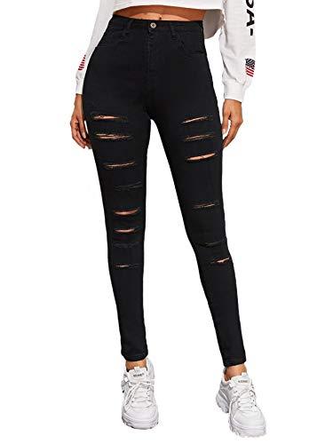 SweatyRocks Women's Hight Waisted Stretch Distressed Denim Pants Ripped Skinny Jeans Black S