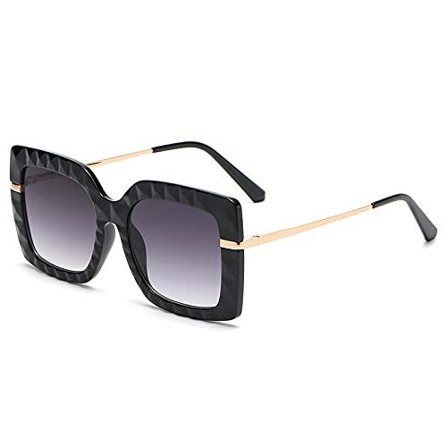Gafas De Sol Hombre Mujeres Ciclismo Gafas De Sol Cuadradas De Cristal A La Moda para Mujer, Gafas Graduadas Retro, Lentes Transparentes para Hombre, Montura De Gafas De Leopardo, Negro