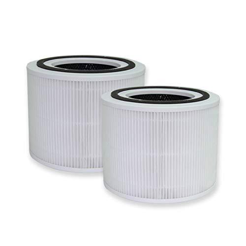 PUREBURG 2er-Pack Ersatz 3-in-1-HEPA-Filter Kompatibel mit LEVOIT Core 300 Luftreiniger Teilenummer Core 300-RF