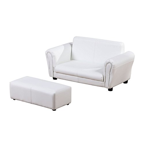 HOMCOM 2 Seater Kids Twin Sofa Childrens Double Seat Chair Furniture Armchair Boys Girls Couch w/Footstool (White)