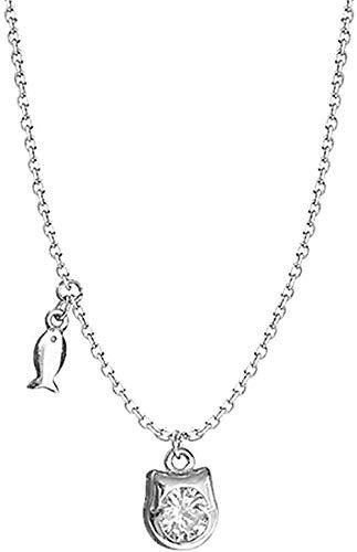 ZGYFJCH Co.,ltd Collar Lindo Gato pez Cristal Colgante clavícula Cadena Collar Femenino