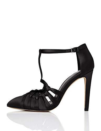 TRUTH & FABLE Sandali da Damigella con Cinturino alla Caviglia Donna, Nero (Black), 38 EU