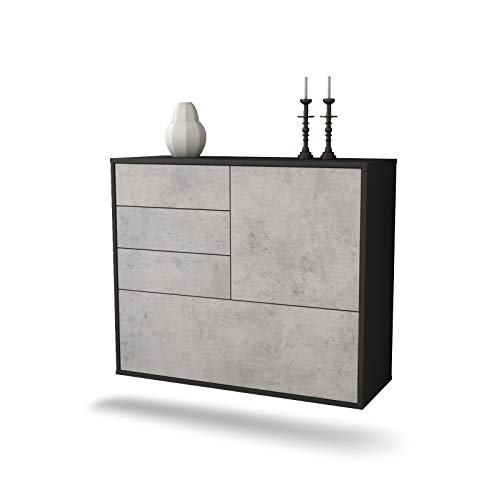 Dekati dressoir Fontana hangend (92 x 77 x 35 cm) corpus antraciet mat | front beton look | Push-to-Open